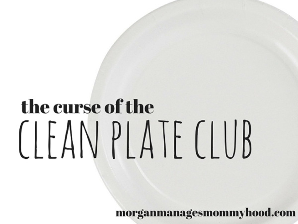 a white background with a white plate on top with text overlay reading the curse of the clean plate club