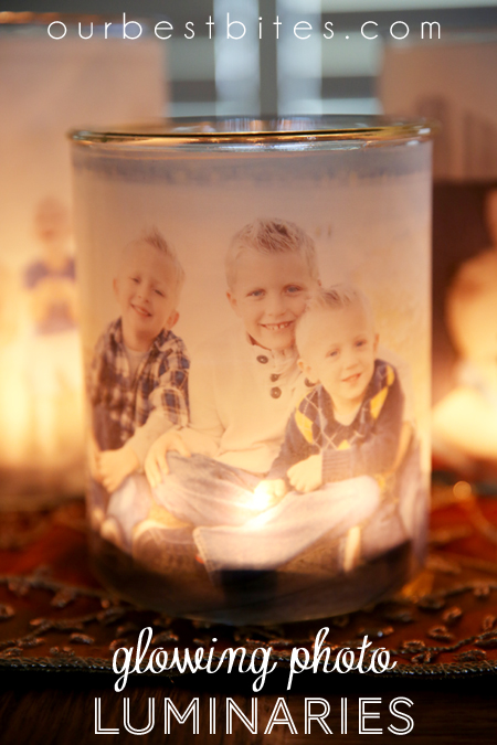 a photo glued to a candle holder with a the candle glowing behind with text diy glowing luminaries on the image