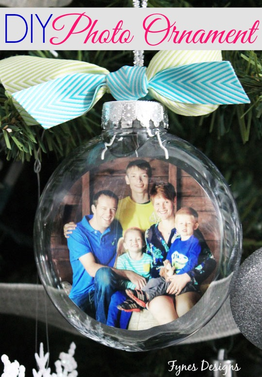 an image of a clear christmas ornament with a photo inside tied with a ribbon