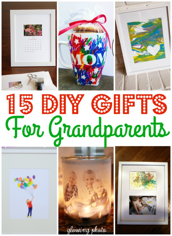 collage of different gifts kids can make for grandparents