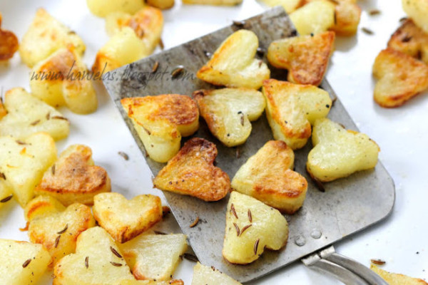heart shaped food roasted potatoes