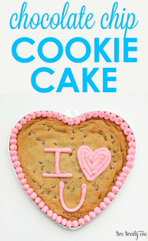 chocolate-chip-cookie-cake in a heart pan with pink frosting reading I heart U