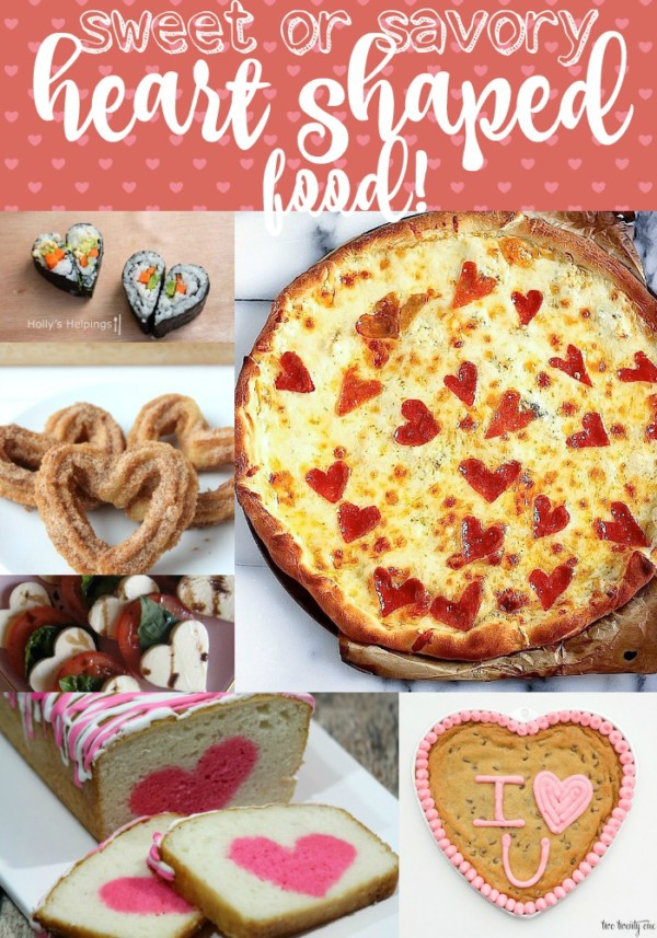 Pinable image with a collage of different heart shaped foods