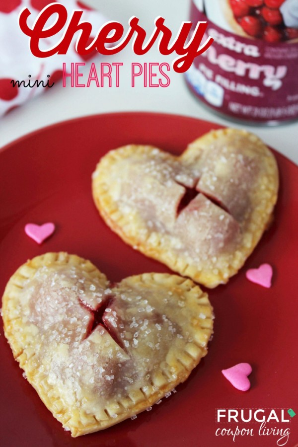 2 heart shaped sherry hand pies on a re dplate wiht pink heart shaped sprinkles