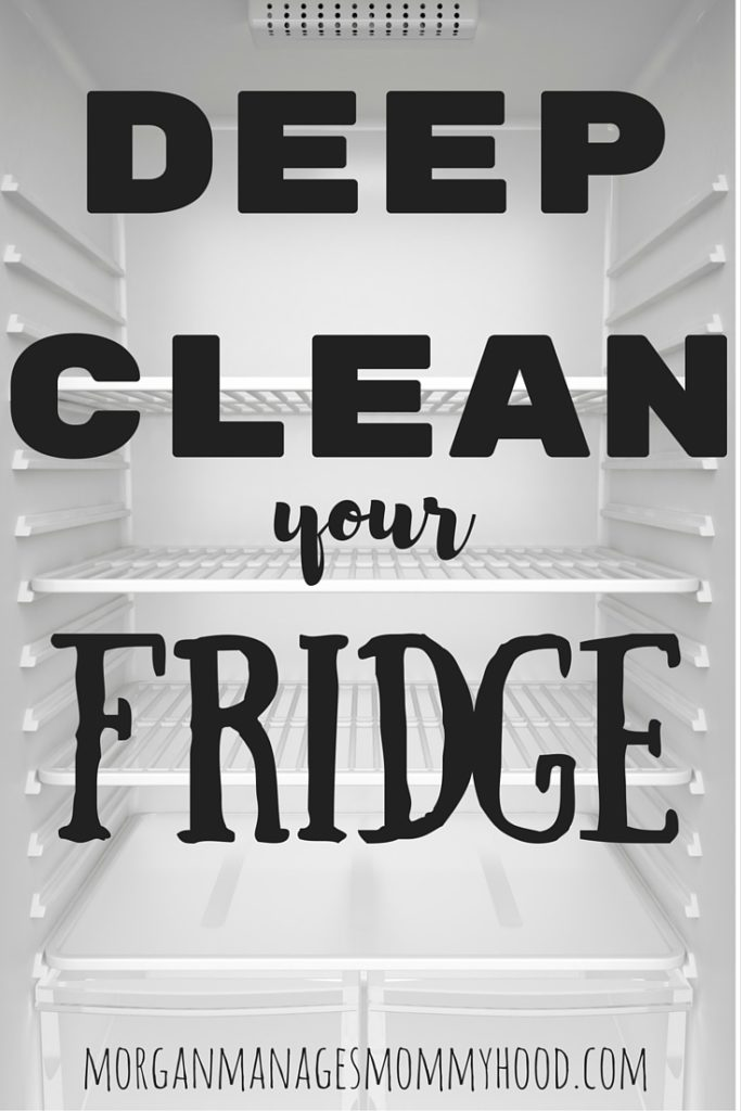 a photo of a clean, empty fridg with text overlay reading how to deep clean your fridge