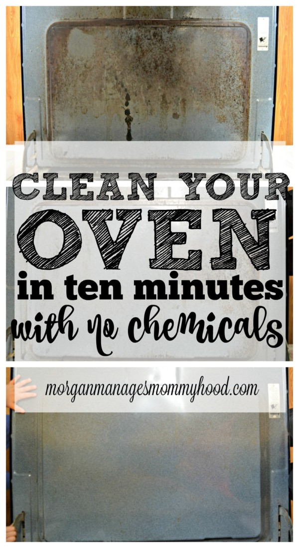 pinable image with text overlay reading clean your oven in 10 minutes with no chemicals