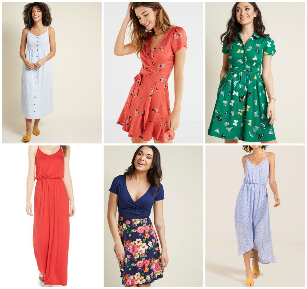 a collage of 6 different summer dresses perfect for breastfeeding in the summer