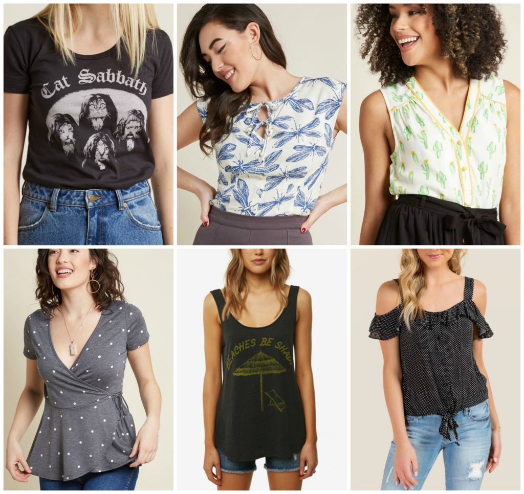 a collage of tops to wear while breastfeeding in the summer
