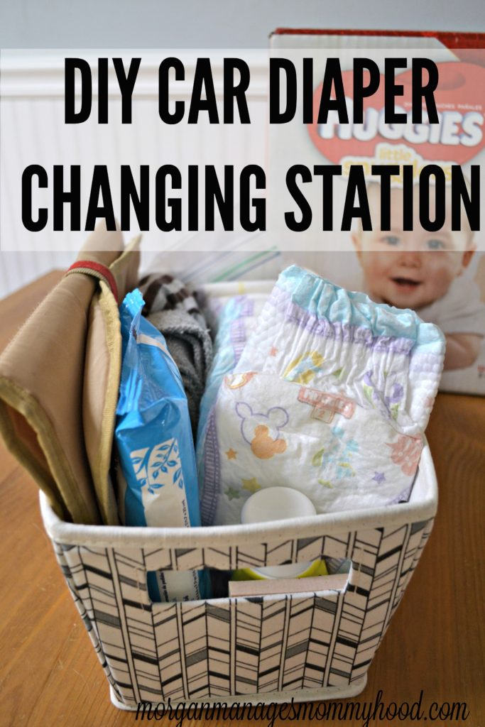 a basket showing everything you need to pack in your car for a  car diaper change from diapers to wipes.