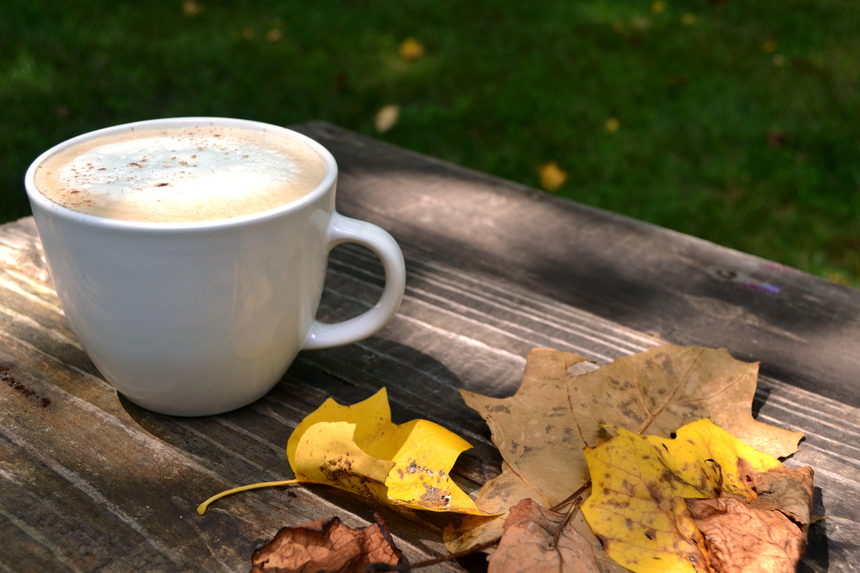a sugar free pumpkin spice latte on a wooden table with fall leaves