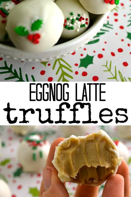 These eggnog latte truffles are the perfect Christmas truffles to add to your holiday baking this year - creamy, simple, and packed with holiday cheer. #eggnog #eggnogrecipe #holidaycandy #holidaybaking #christmascandy #christmasbaking #christmastruffles #truffles
