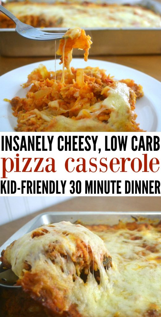 Cheesy Low Carb Pizza Casserole is the perfect family compromise for weeknight dinners - packed with veggies, cheese, and tons of pizza flavor! This easy dinner is mom approved while still being a kid friendly dinner. #healthydinner #kidfriendlymeals #casserole #easy idnner
