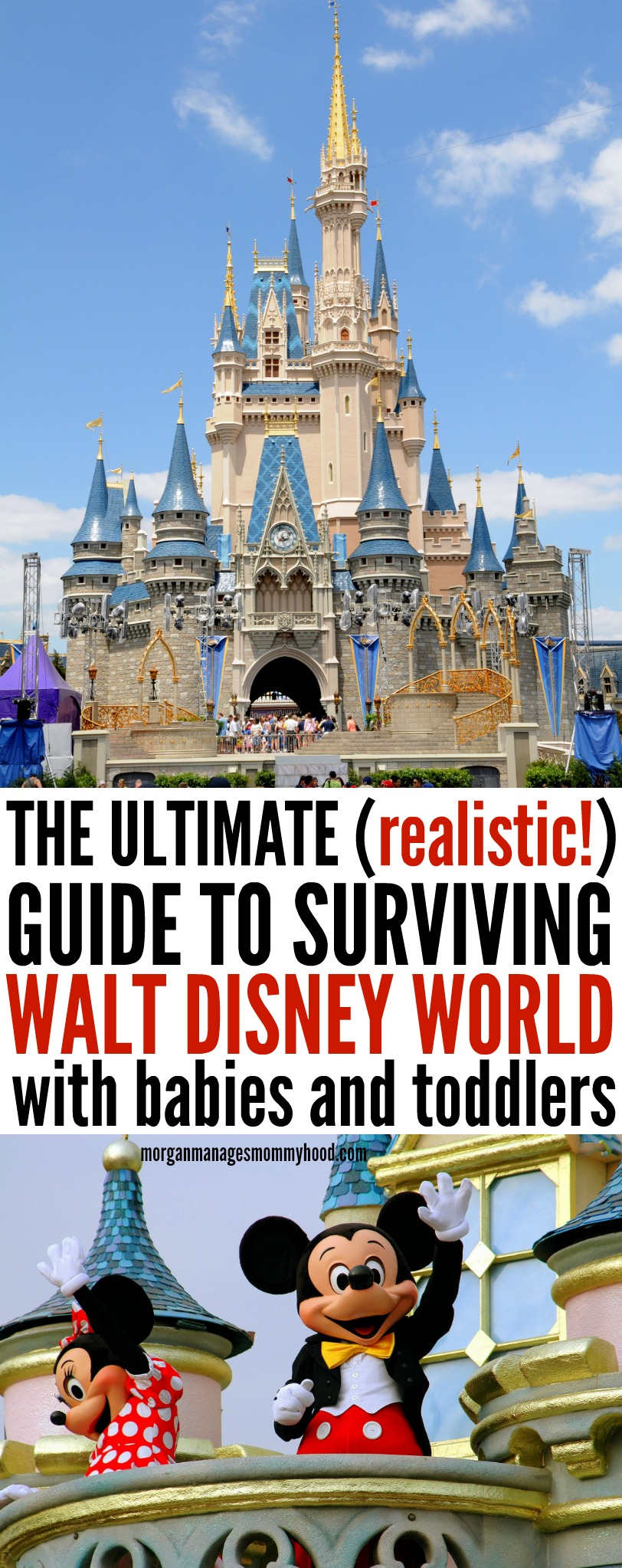 the ultimate realistic guide to surviving walt disney world with babies and toddlers. Walt disney world castle, mickey and minnie mouse, disney mom, disney with babies, disney with toddler