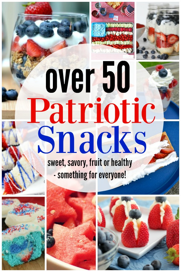 Looking for some Patriotic snacks to celebrate summer with? These red white and blue snacks are sure to be a hit with any crowd, young or old. The perfect option for your summer party, choose a 4th of July snack that is easy, fun, and tasty! #4thofjulyparty #4thofjulyfood #patrioticfood #redwhiteandblue #partyfood