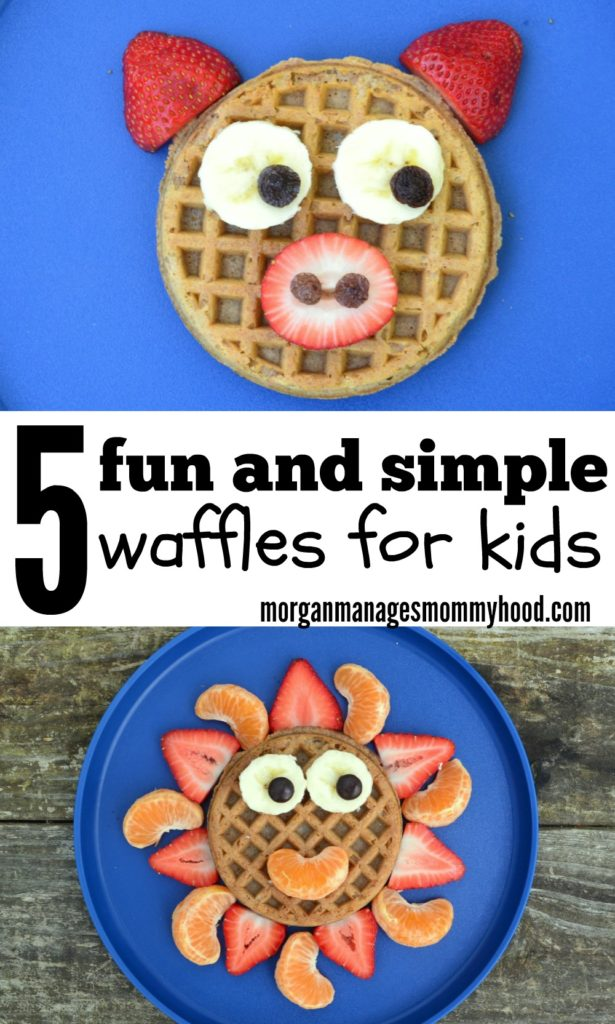 pinable image with pictures of fun kids waffles. One is a waffle made to look like a ic with strawberries, bananas and raisins on a blue back ground, and the other is a sunshine waffle using orange segments, strawberries, bananas and raisins on a blue plate on a wooden picnic table.
