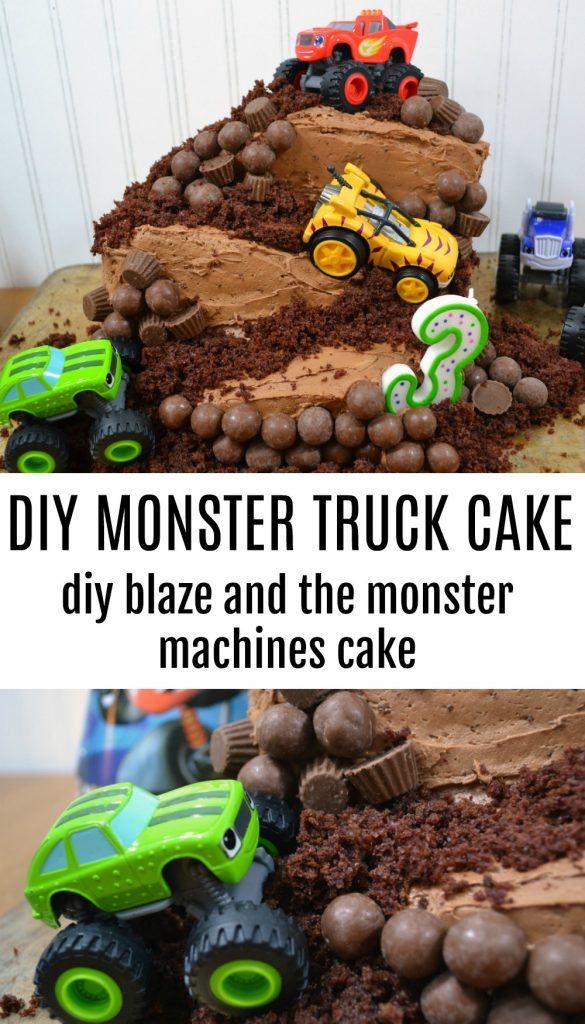 A monster truck cake is the perfect choice for any truck lover. This Blaze cake can easily be turned into a construction site themed cake, but whatever theme you go for, you'll love how easily it is to assemble this homemade birthday cake.  #blazeandthemonstermachines #birthdaycake #boycake #homemadecake #cakedecoration