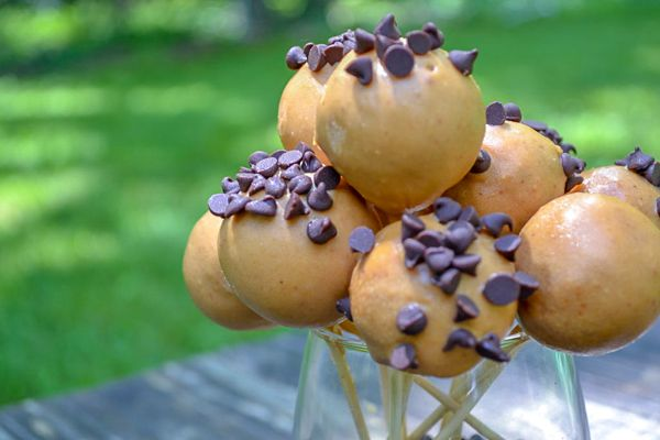 half a dozen healthy cake pops in a glass with mini chocolate chips on top sitting on a weather table outside.