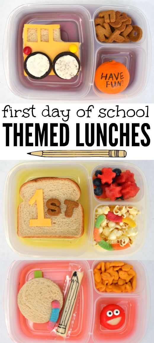 First Day of School Lunches // first day of school, school lunch, fun lunches, themed lunches, lunchbox