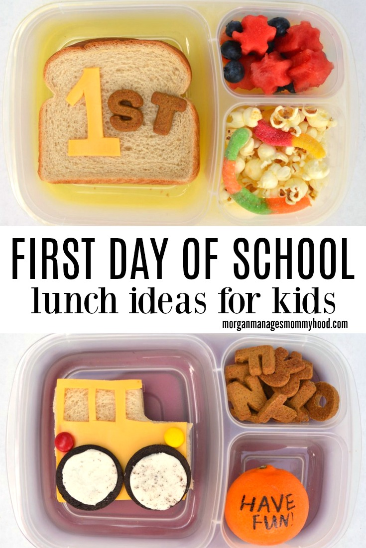 Making a first day of school lunch your kids will remember all year long doesn't have to be hard - these 3 simple first day of school lunch ideas! #backtoschool #schoollunch #backtoschoolunch #easylunch #firstday #firstdayofschool #bentolunch #funlunch #kidslunch #lunchbox #lunchboxinspiration