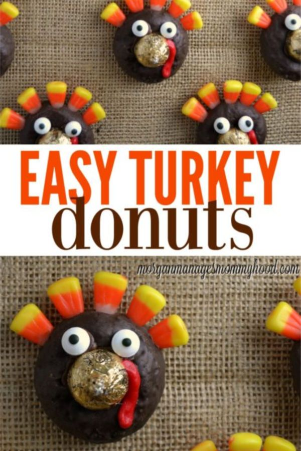 These easy turkey donuts are perfect for Thanksgiving parties. These thanksgiving treats that kids can make are sure to be a hit! #thanksgiving #thanksgivingdessert #turkey #thanksgivingtreat #thanksgivingcraft