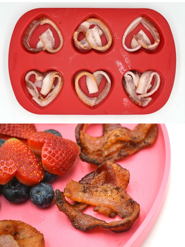 a collage showing how to make heart shaped bacon in a silicone heart pan