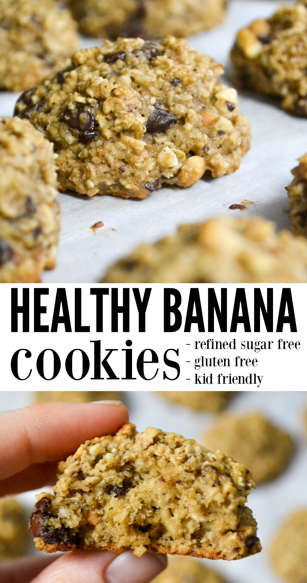 Healthy banana cookies are decadent enough to be an after dinner dessert, but nutritious enough to enjoy for breakfast. With no refined sugar, healthy cookies are something mom can serve without the guilt. #healthysnack #healthycookie #breakfastcookie