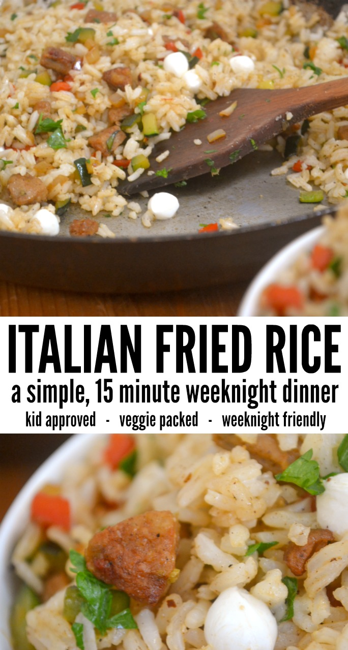 This Italian Fried Rice is the perfect time saving weeknight meal that will please your whole family. Leftover rice is cooked up with sweet Italian chicken sausage, veggies, and a splash of wine to create a simple family favorite. The Italian style rice is a fun take on your traditional fried rice recipe. #quickdinner #weeknightdinner #kidapproved