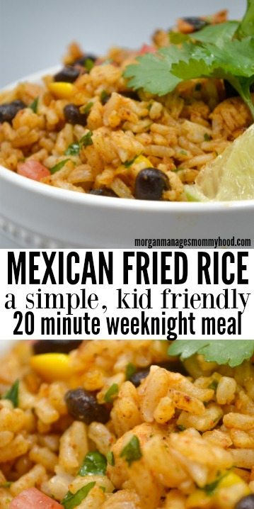 Mexican Fried Rice is going to be your new go to for a quick, healthy weeknight dinner. Using a kid favorite as the base, this kid friendly dinner is the perfect vehicle to introduce new flavors and encourage adventurous eating.  #30minutemeal #quickdinner #kidfriendlydinner #morganmanagesmommyhood