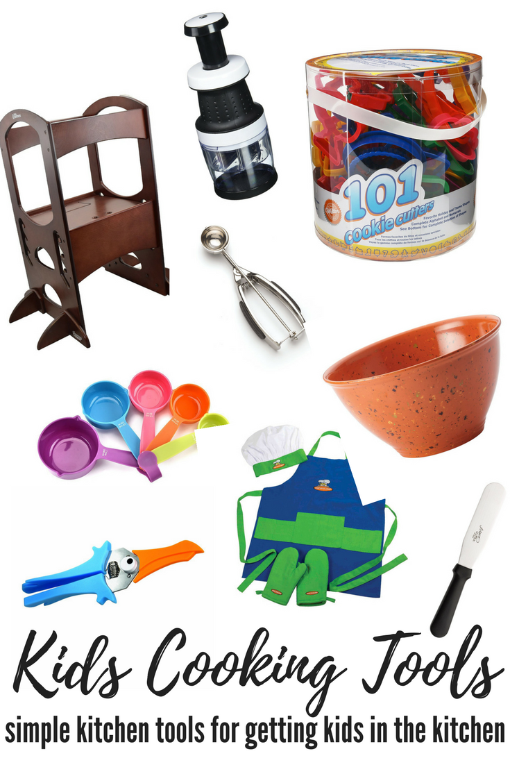 a collage of kids cooking tools on a white background