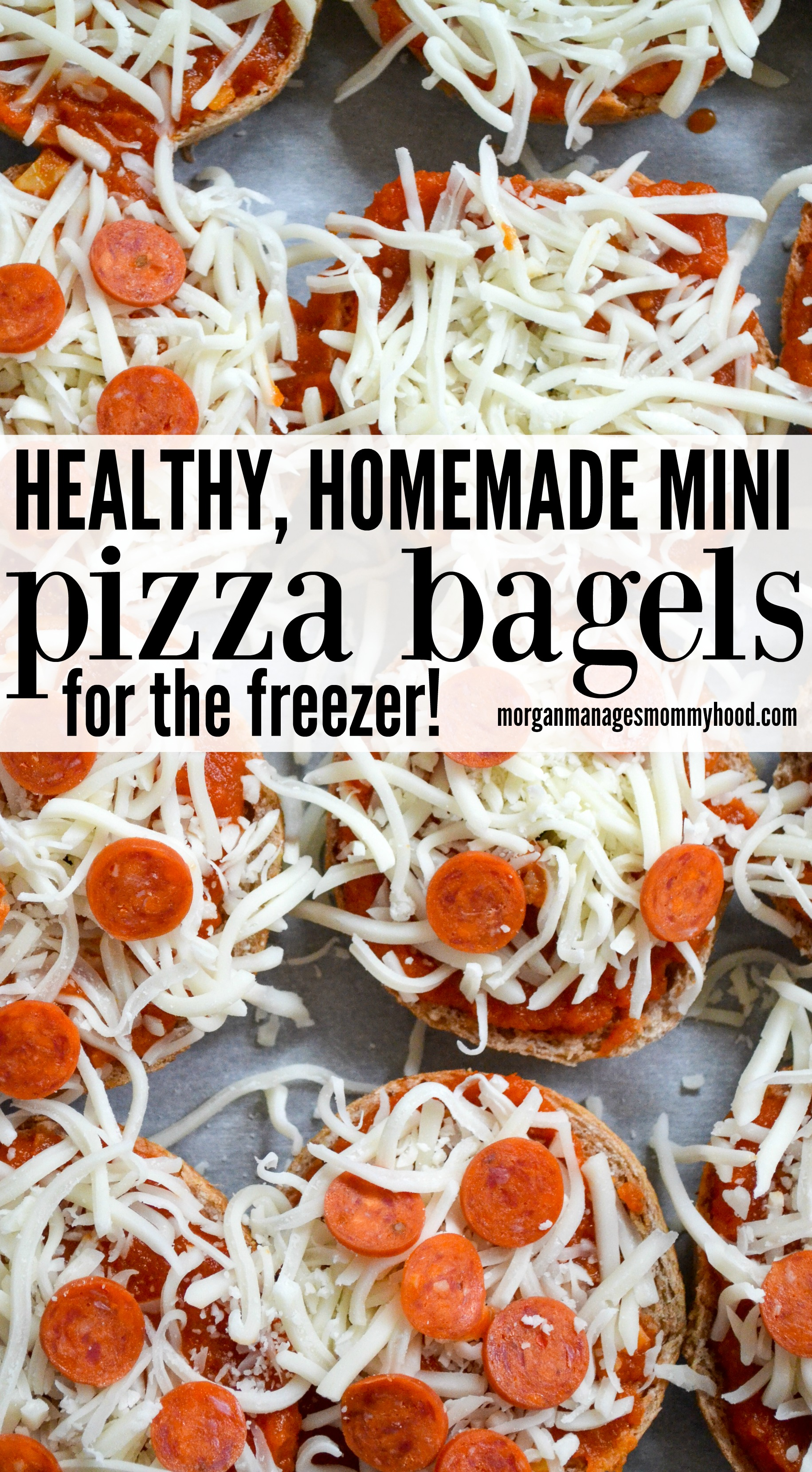 Homemade pizza bagels are the perfect alternative to kid favorite frozen pizza bagels you buy. Customize with your family's favorite toppings, these healthy pizza bagels are a dish you can feel good about giving your kids. #pizza #pizzanight #easydinner #freezermeal #kidfriendly #kidapproved