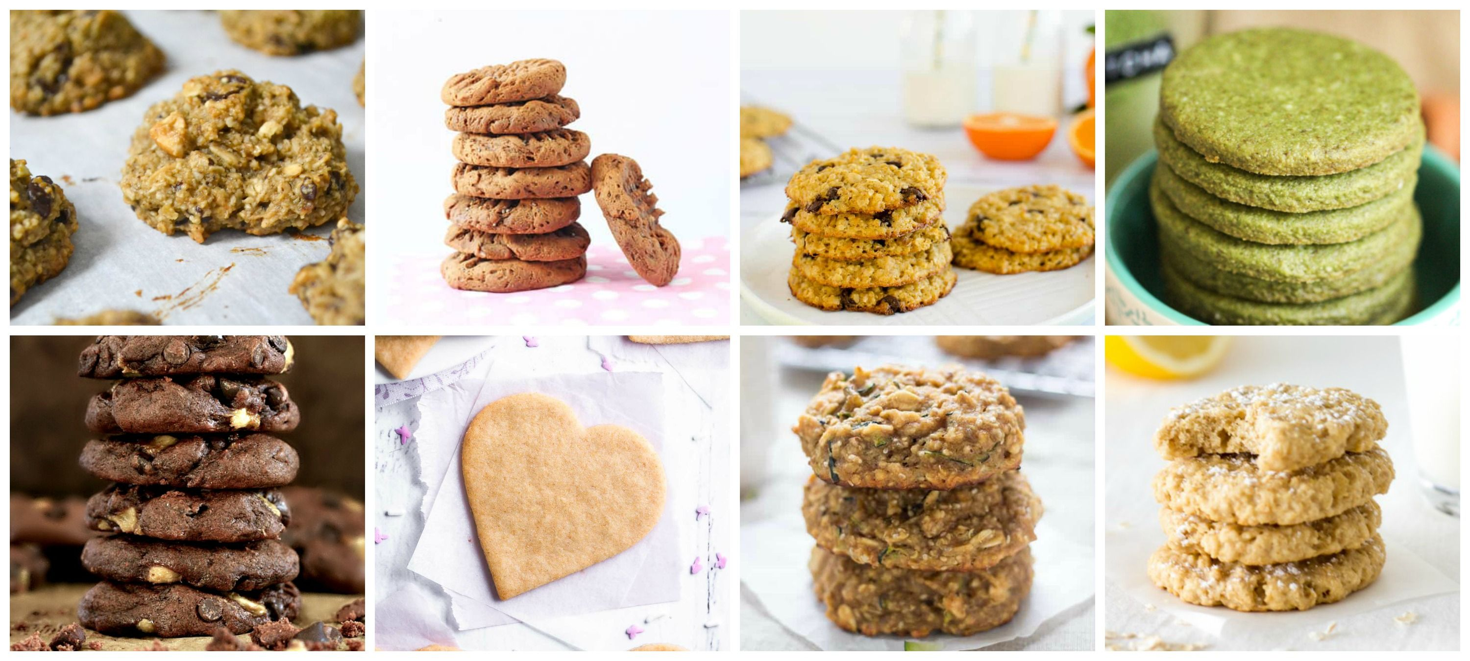 8 images of healthy cookies, from chocolately banana cookies to green matcha cookies.