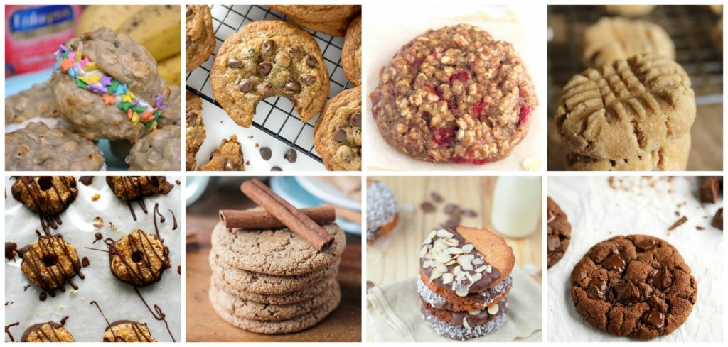 a collage of 8 Healthy cookies - from sprinkle packed whoopie pies to homemade healthy samoas.