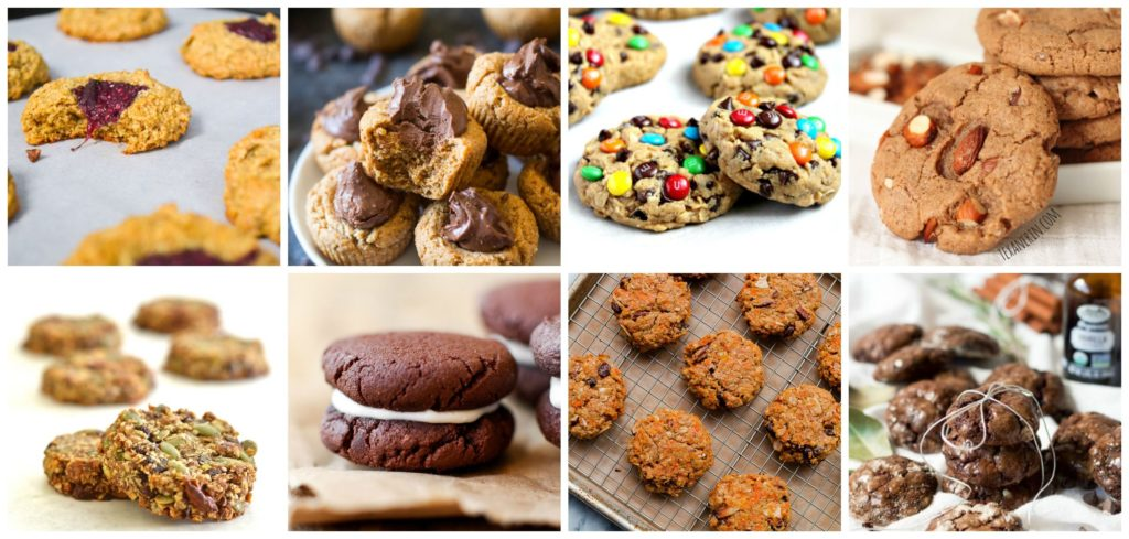 a collage of 8 healthy cookie recipes , from chia seed thumbprint cookies to healthy oreos!