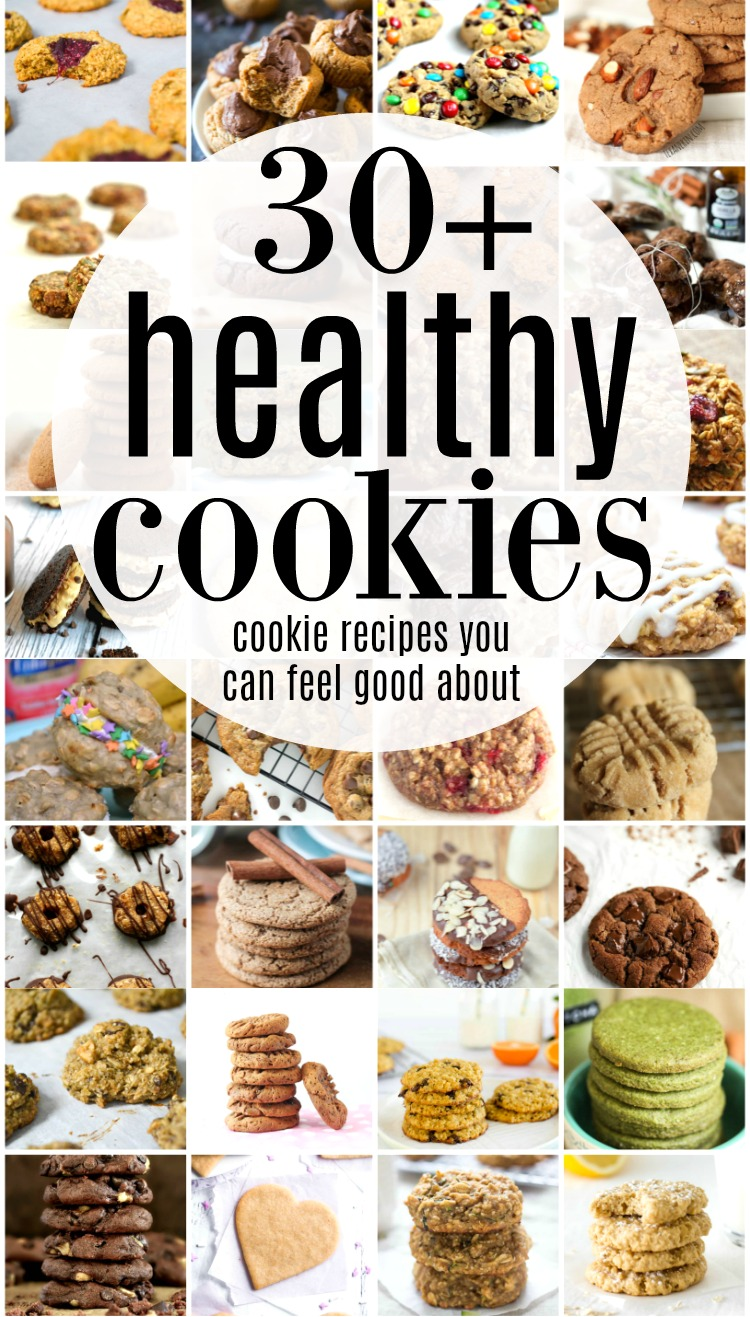Healthy cookies are the best of both worlds - a snack the whole family will love and a healthy treat you can feel good about serving. Tame your sweet tooth with over 30 healthy cookie recipes.  #healthydessert #healthysnack #healthytreat #cookies #healthycookies
