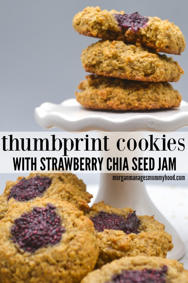 Healthy thumbprint cookies are the perfect compromise - a healthy lunchbox treat for kids and a guilt free cookie for moms. These healthy cookies are packed with healthy fats, whole grains, and have zero refined sugar.  #healthycookies #healthycookie #sugarfree #wholegrains #healthydessert #kidscooking