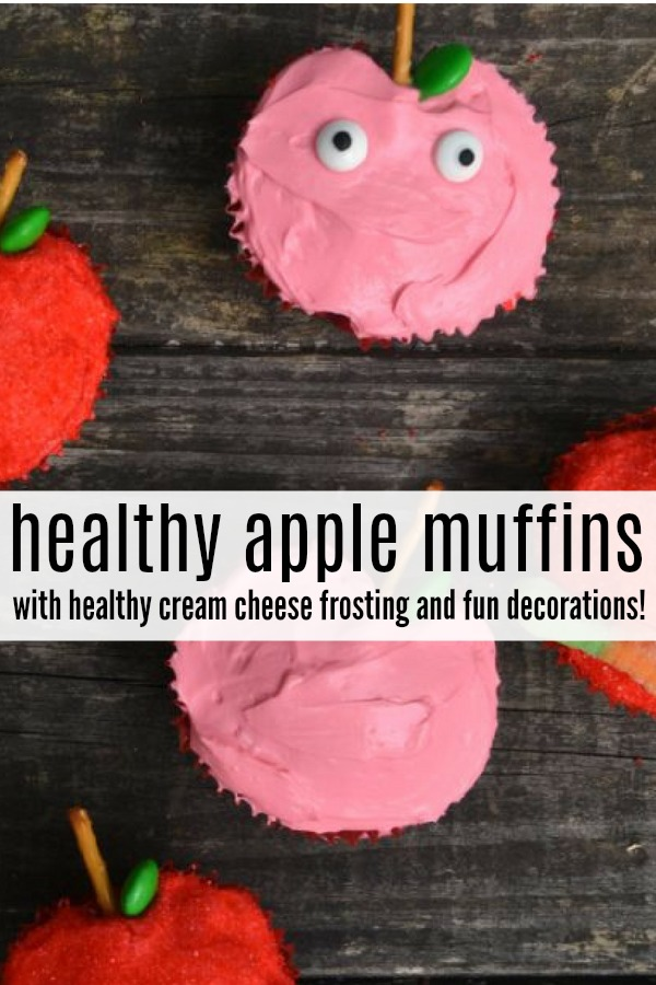 Healthy apple muffins with healthier cream cheese frosting are the perfect fall treat - apple muffins made healthy by reducing the sugar and using a yogurt based frosting. #apple #muffins #applemuffins #healthymuffins #creamcheese #fallrecipes #fallfood #applerecipes #creamcheesefrosting #healthytreat #healthybakedtreat