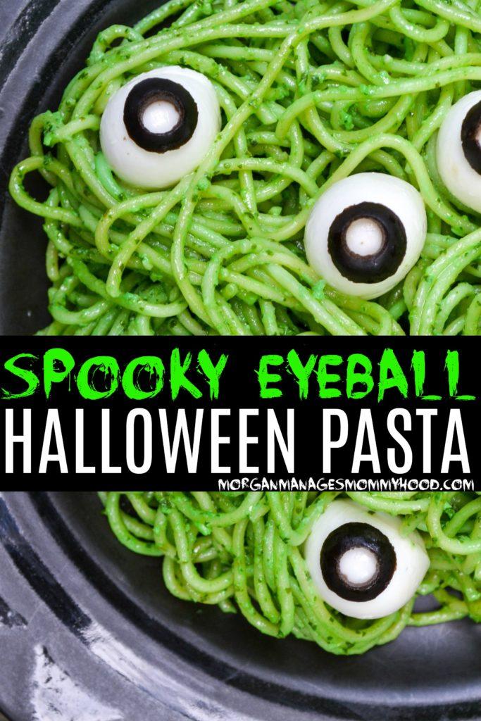 green spaghetti noodles with mozzarella eyeballs for a spooky halloween dinner idea