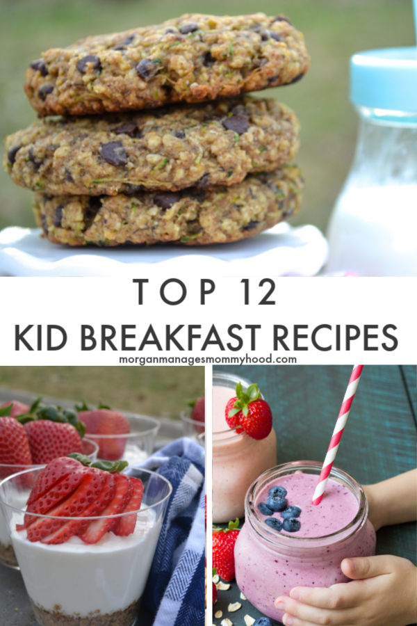 pinable image collage with 3 different kids breakfast recipe images a