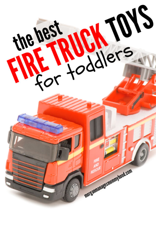 a red fire truck toy for toddlers on a white background