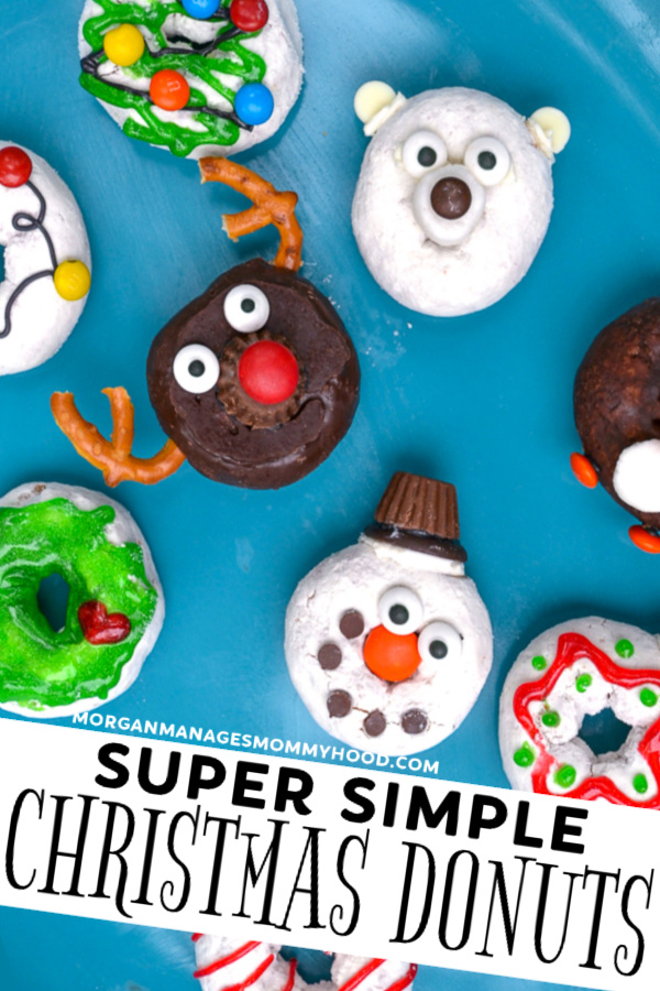 Decorating donuts is the new decorating cookies! With these super simple Christmas donuts, you'll be able to have festive fun on your holiday desserts table without the stress. #christmasfood #christmasdonuts