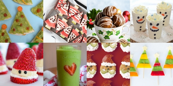a collage of 8 thumbnail images, from Christmas tree quesadillas to a Grinch smoothie to Santa strawberries