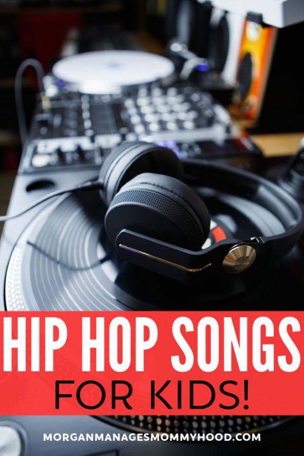 A turn table with DJ headphones on it with the words hip hop songs for kids on it.