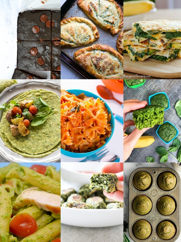 a collage of 9 different spinach recipes for kids, from spinach waffles to spinach brownies