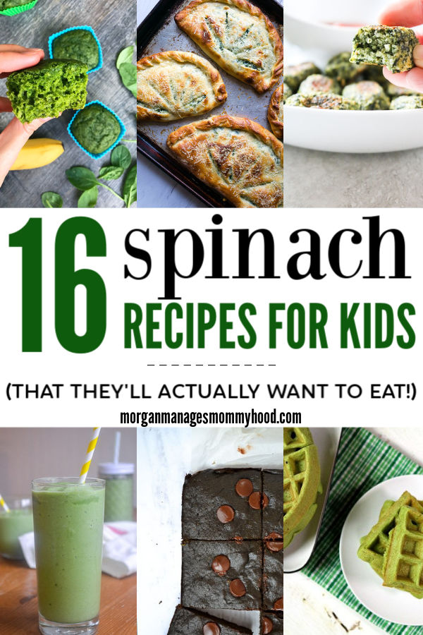 collage image of spinach recipes including smoothies, muffins, and waffles with text overlay reading 16 smoothie recipes for kids