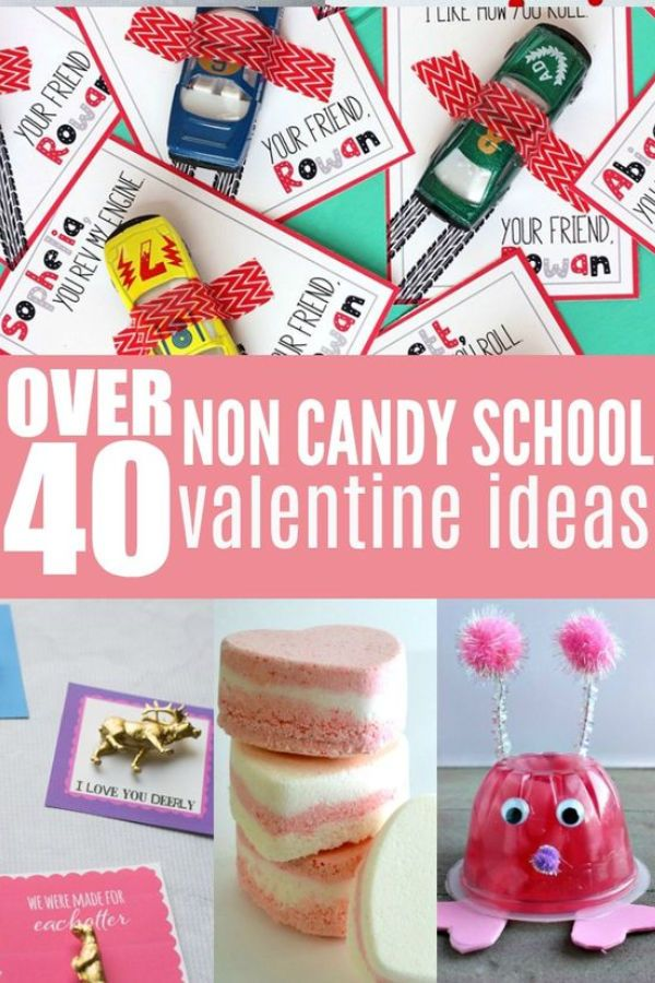 pinable image with a collage of different non candy valentines for school