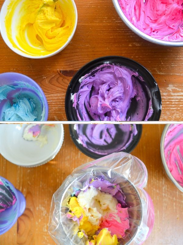 a collage of unicorn frosting. one image has different colored frostings and the second is loading up a piping bag with the colored frostings