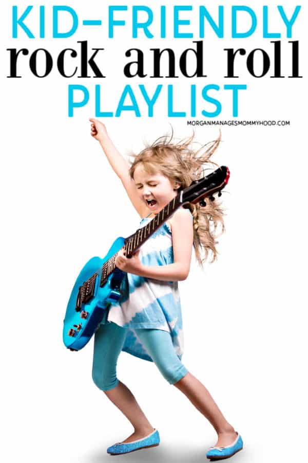 "a girl rocking out to rock and roll songs for kids with a blue guitar and the words ""kid-friendly rock and roll playlist"" on the image"