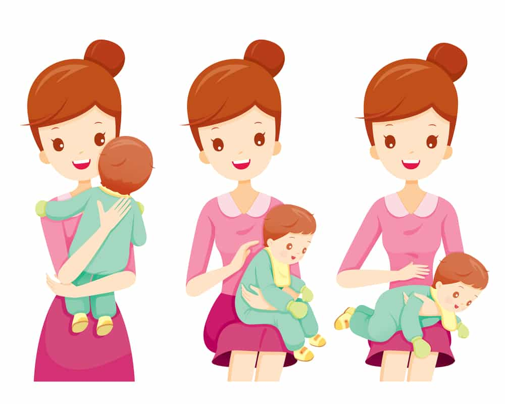 a cartoon of a woman burping a baby in 3 ways - over the shoulder, propped up, and in her lap.