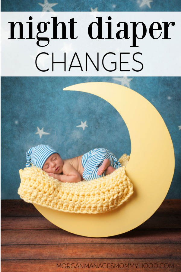 a baby sleeping in a yellow prop mood with stars in the background and text overlay reading night diaper changes