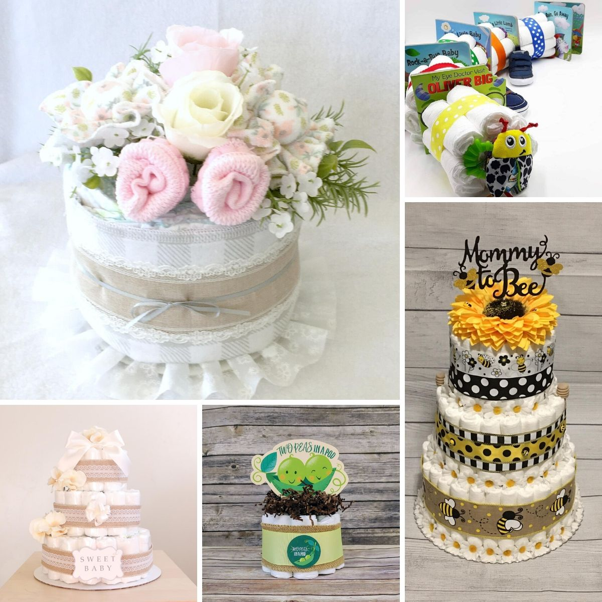 a collage of images showing diaers cakes for baby showers